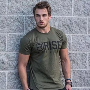 Mens Bodybuilding athletic Army Green t shirt